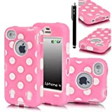 E-LV Polka Dot Hybrid Armor Case Combo for Apple iPhone 4/4S with 1 Front and Back Screen Protector, 1 Black Stylus and 1 E-LV Microfiber Digital Cleaner (iphone 4, Pink-White), Best Gadgets