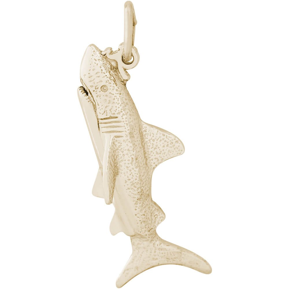 18 or 20 inch Rope Rembrandt Charms Two-Tone Sterling Silver Shark Charm on a Sterling Silver 16 Box or Curb Chain Necklace