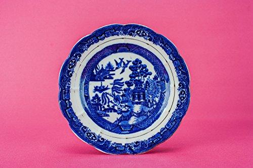 6 Blue And White Antique PLATES Serving Willow Wildblood, Heath & Sons Edwardian Ceramic Medium English Circa 1910 LS