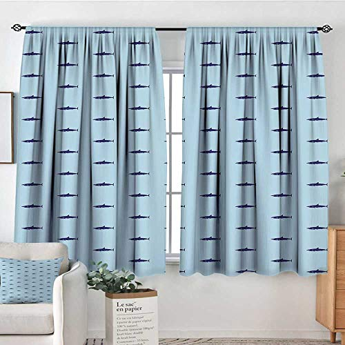 Elliot Dorothy Blackout Curtains for Bedroom Shark,Ocean Life Pattern in Blue Shades Wildlife Under The Sea Saltwater Fauna,Navy Blue Pale Blue,Darkening and Thermal Insulating Draperies 42