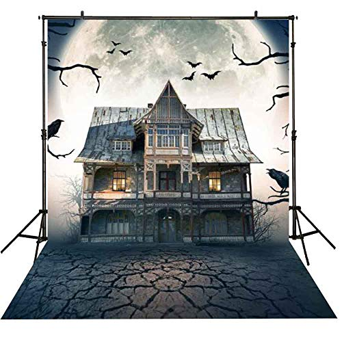 Funnytree 5X7ft Halloween Haunted Castle Photograpphy Backdrop Retro Full Moon Dark Night Background Scary Hallowmas Party Banner Decorations Indoor Portrait Photo Booth Studio -
