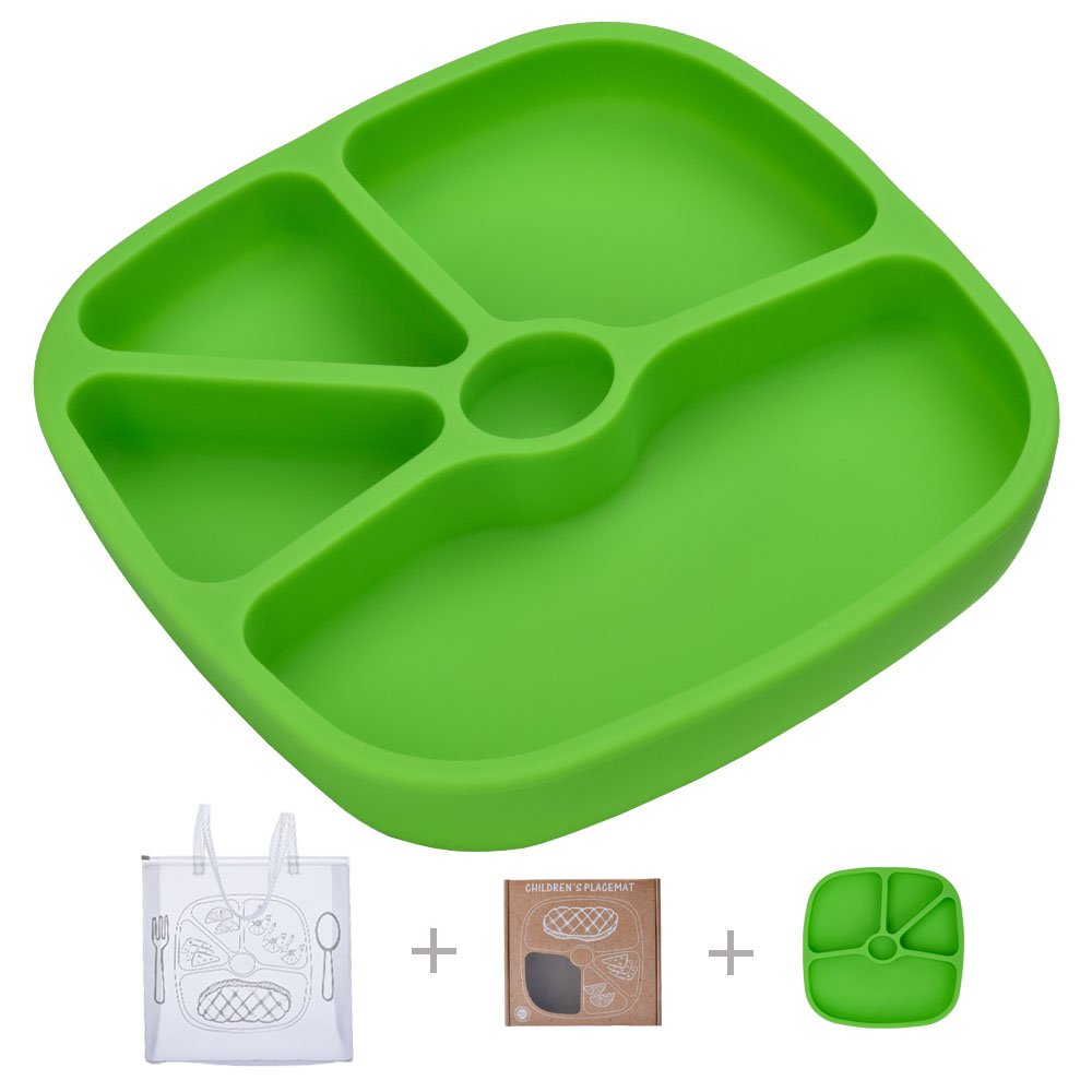 TOPQSC Silicone Baby Divided Suction Plate - Non-Skid Tray Portable Place Mat - for Infant Toddler Kid - Fits Most Highchair Table Home - with 1 Extra HQ Portable Bag - Green (Last 3 Day Deal)
