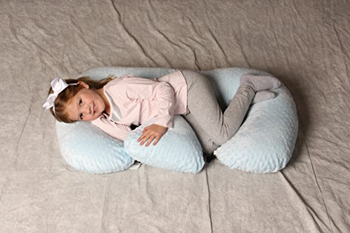 THE TWIN Z PILLOW - BLUE - 6 uses in 1 Twin Pillow ! Breastfeeding, Bottlefeeding, Tummy Time, Reflux, Support and Pregnancy Pillow! CUDDLE BLUE DOTS by Twin Z PIllow (Image #1)