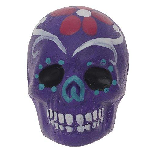 - Painted Ceramic Bead - Dia De Los Muertos Skull Purple W/Flower (2)