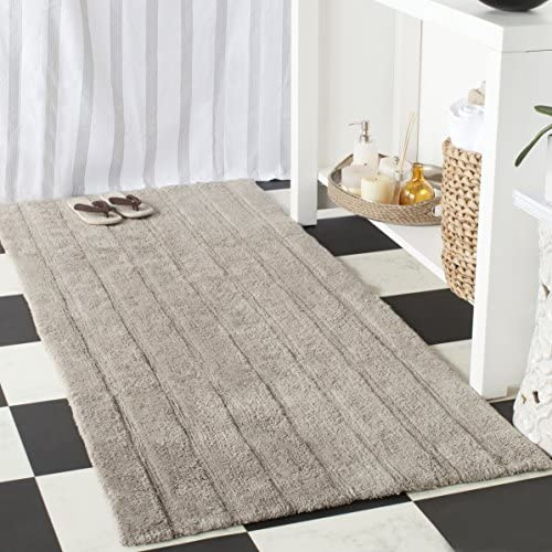 Safavieh Plush Master Bath Collection Grey Cotton Area Rug