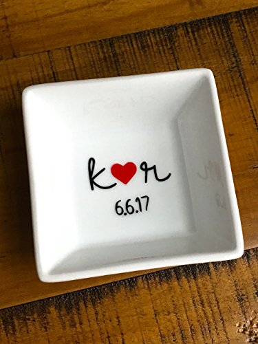 Personalized Ring Dish - Initials Heart Date Custom Jewelry Holder - Engagement Wedding - For the Bride - Bridal Shower Trinket