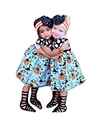 Kids Baby Girls Halloween Pumpkin Cartoon Princess Dress Outfits Clothes by XILALU