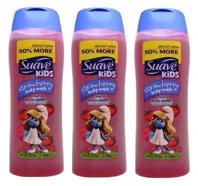Suave Kids Body Wash, Special Value -50% More, 18 Fl Oz/ 532 mL, STRAWBERRY SCENT, (3 PACK)