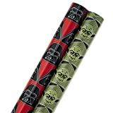 Hallmark Star Wars Holiday Wrapping Paper with Cut Lines, Darth Vader and Yoda (Pack of 2, 100 sq....