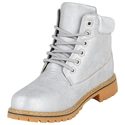 Stiefelparadies Damen Stiefeletten Outdoor Worker Boots Leicht Gefütterte Schuhe Flandell Grau Metallic