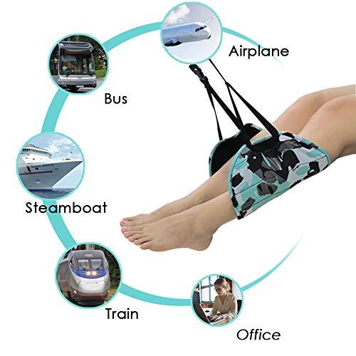NADAMOO Footrest Airplane Portable Flight Carry On Travel Flannelette Foot Rest Adjustable Office Foot Hammock Under Desk, Blue & Black by NADAMOO (Image #5)