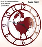 Rooster Wall Clock. Solid Steel. 15 Inch Wide. Quartz Movement. Cherry Red Texture, Handmade in USA For Sale