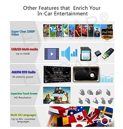 XYH.AN60271GNN+YCAM.hz LTD Eincar New Developed 7 Android 6.0 Quad Core HD Capacitive Touch Screen Double 2 Din Car Radio Stereo Support Bluetooth 1080P Mirrorlink Auto GPS Navigation Head Unit Car Stereo Reverse Camera OBD EGood CO