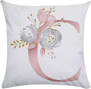 Tillskuch Throw Pillow Covers 26 Decorative English Letters Floral Pillowcases Velvet Soft Cushion Cover White Pillow Protectors for Sofa Bedding Car and Home Decor (18x18 / 45x45cm, Letter C)