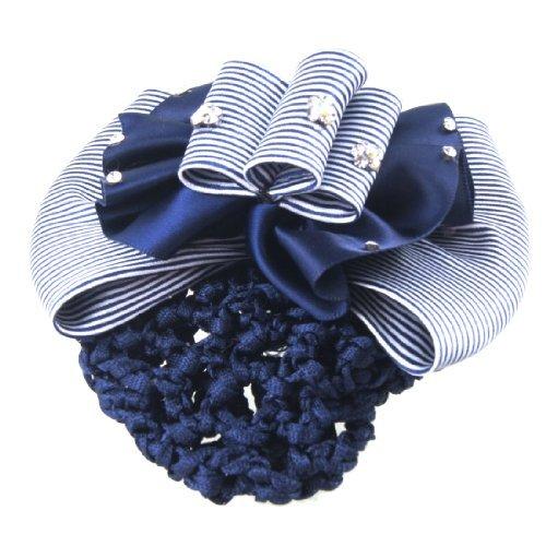 DealMux Lady Blue Flower Embellished Stripe Bowknot Hair Clip w Hairnet