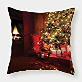 iPrint Satin Throw Pillow Cushion Cover,Christmas,Xmas Scene with Decorated Luminous Tree and Gifts by the Fireplace Artful Image,Red Yellow,Decorative Square Accent Pillow Case