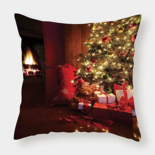 iPrint Cotton Linen Throw Pillow Cushion Cover,Christmas,Xmas Scene with Decorated Luminous Tree and Gifts by the Fireplace Artful Image,Red Yellow,Decorative Square Accent Pillow Case by iPrint