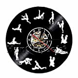 24hours Naughty Sex Positions Funny Mood Wall Clock Adult Sex Vinyl Record Wall Clock Modern Kamasutra Contemporary Sex Wall Clock (Without LED)