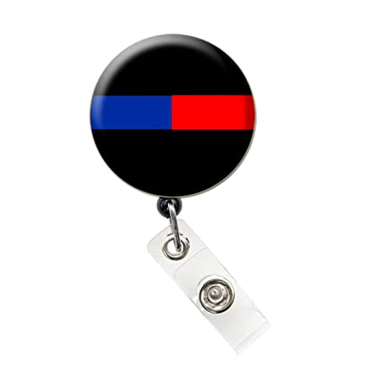 58c12f4df35e Amazon.com   Thin Blue Line Nurse Badge Reel Retractable ID Badge Holder  (Thin Blue Red Line Badge)   Office Products