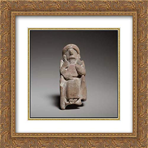 Cypriot Culture - 20x20 Gold Ornate Frame and Double Matted Museum Art Print - Seated Female Figurine