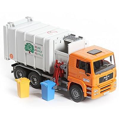Bruder Toys Man Side Loading Garbage Truck Orange by Bruder