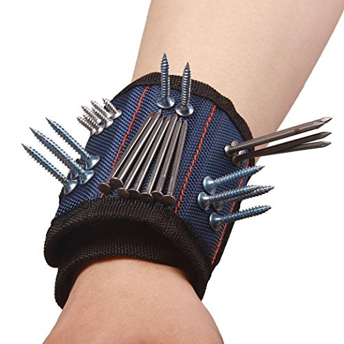 Cars Wristbands (Botrong 3 Magnetic Wristband Pocket Tool Belt Pouch Bag Screws Holding Working Helper (Blue))