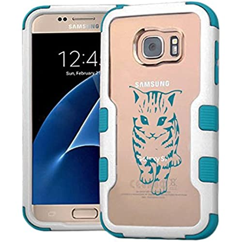 Galaxy S7 Case Walking Cat, Extra Shock-Absorb Clear back panel + Engineered TPU bumper 3 layer protection for Samsung Galaxy S7 (New 2016) Blue Cover (Walking Sales