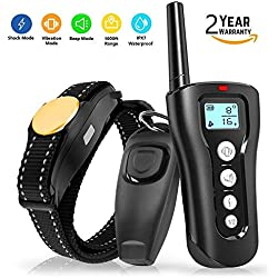 Amakin Shock Collar for Dogs. 2018 Upgraded 1000ft Dog Training Collar Remote Small Medium Large Dogs. Rechargeable & Waterproof Beep, Vibration & Shock. Training Clicker Whistle Included.