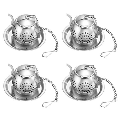 Drip Teapot (CUGBO 4 Pack Teapot Tea Infuser Stainless Steel Loose Leaf Tea Strainer Filter with Chains and Drip Trays Strainer Filter Infuser for Tea Cups,Mugs)
