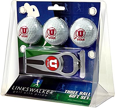 NCAA Utah Utes - 3 Ball Gift Pack with Hat Trick Divot Tool