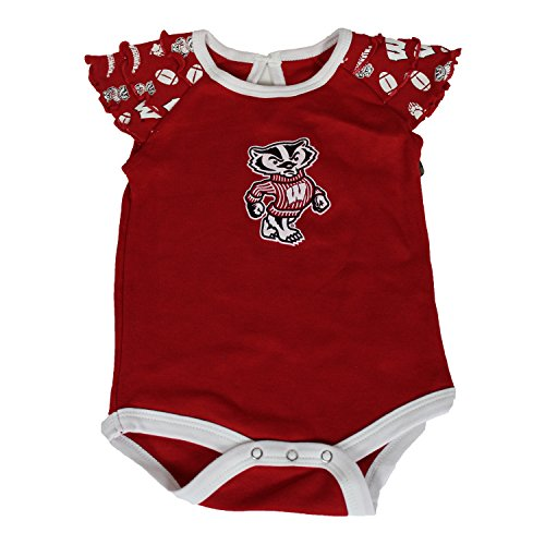 Glitter Gear Wisconsin Badgers Official NCAA Short-Sleeved One Piece W/Ruffle Detail On Sleeves 0-3 M by Glitter Gear