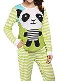 VENTELAN Women Long Sleeve Panda Print Round Neck Pajamas Set Striped Sleepwear A-Green Panda M (USA Size:8-10)