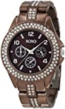 XOXO Women's XO5457 Rhinestone Accent Chocolate Brown Analog Bracelet Watch