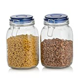 juice canister - Klikel Square Glass Kitchen Storage Canister Jars - Crystal Clear Food Storage Jars With Blue Lid And Bail & Trigger Hermetic Seal - 48oz, (set of 2)