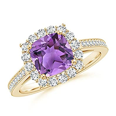 Angara Cushion Amethyst and Diamond Halo Ring With Swirl Motifs