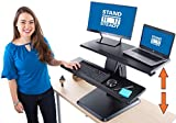 Stand Steady Momentum Two Level Standing Desk | Easily Adjustable Sit to Stand Desk with Gas Spring Lift | Sit-Stand Desk with Keyboard Tray & Bonus Tablet Slot | Sleek Modern Design (Black 32'')