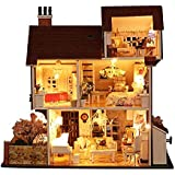 PSFS 3D Wooden DIY Miniature Dollhouse Kit with Light-Wooden Mini House Set, Furniture LED House Puzzle Decorate Creative Gifts-Best Birthday for Boys and Girls (F)