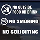 NO FOOD, NO SMOKING, NO SOLICITING VINYL DECAL / STICKER FOR STORES BUSINESSES BUNDLE PACK