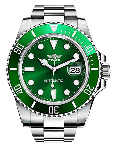 Luxury Men's Automatic Mechanical Watches Rotatable Bezel Full Steel Calendar Luminous Waterproof Watch (Silver Green)