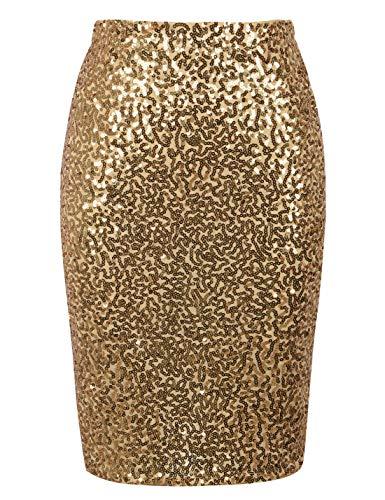 (PrettyGuide Women's Sequin Skirt High Waist Sparkle Pencil Skirt Party Cocktail S Gold)
