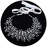 ULAPAN Wedding Hairpiece Wedding Hair Vine Crystal Bridal Hairpiece Headband Wedding Headwear with Off-White Ribbon (HP55-S)