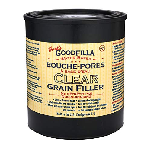 Clear Water-Based Grain & Pore Filler - 1 Quart by Goodfilla | Innovative & | Compliments All Woodworking Finishing Products | Paintable, Stainable, Sandable & Quick Drying