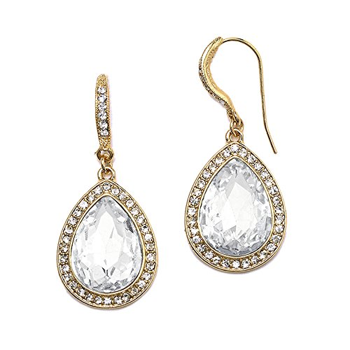 Mariell Gold Pear-Shaped Crystal Dangle Earrings for Weddings, Bridal, Prom, Bridesmaids & Fashion Glam