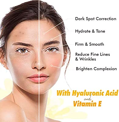 Ebanel Vitamin C Serum for Face with Hyaluronic Acid 20%, Anti Wrinkle Anti Aging Serum Dark Spot Corrector Remover for Face, Even Tone Brightening Serum with Ascorbic Acid, Vitamin E B5, Ferulic Acid