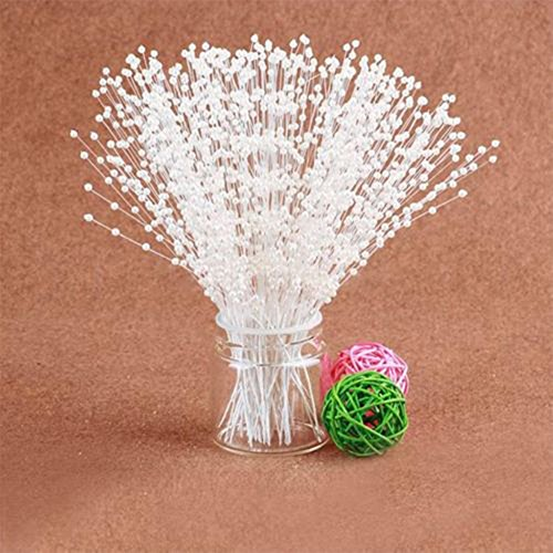 100pcs Bridal Spray White Beads on Wire Stick Stems Faux Pearl Spray Wedding Bouquets Craft White