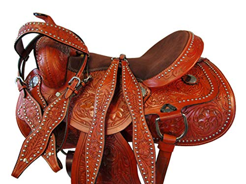 Orlov Hill Leather Co 15 16 17 DEEP SEAT Western Barrel Saddle Show Pleasure Trail Horse Racing Package (16 Inch)