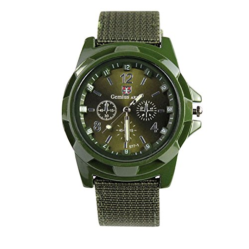 Fashion Army Racing Force Military Sport Mens Fabric Band Watch,Outsta Gift Watches Round Case Wristwatches (Green)