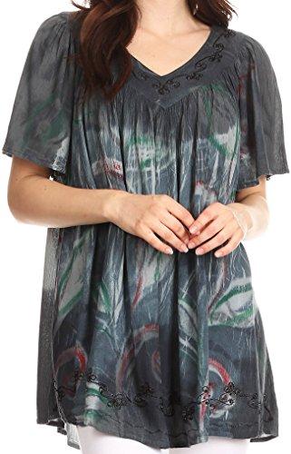 (Sakkas S483865 - Nia Tie Dye Sequin Embroidered V-Neck Cap Sleeve Blouse/Top - Grey - OS)