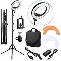 EACHSHOT ES180 Kit, Including Light, Stand, Phone Clamp, Tripod Head 180 LED 13 Stepless Adjustable Ring Light Camera Photo/Video Portrait photography 180pcs LED 5500K Dimmable