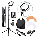 EACHSHOT ES180 Kit, {Including Light, Stand, Phone Clamp, Tripod Head }180 LED 13'' Stepless Adjustable Ring Light Camera Photo/Video Portrait photography 180pcs LED 5500K Dimmable